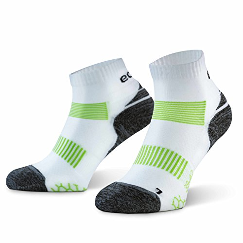 Eono Essentials – Calcetines de running para hombre y mujer (paquete de 3 uds.), Blanco, tallas 39-42
