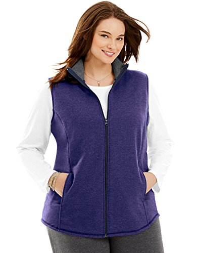 Just My Size Womens Mock-Neck Fleece Vest, 3X, Out of The Blue Heather