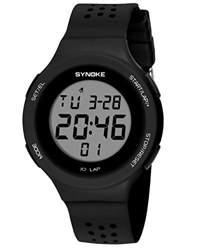 SYNOKE - Reloj Impermeable Digital Deportivo Unisex para Adolescentes Chicos Chicas Reloj de Pulsera Luminoso con LED Alarma Date Transpirable al Aire Libre Colorido Ultra-Delgado Ligero - Negro