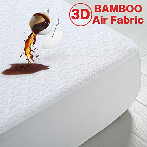 MERITLIFE Premium Bamboo Waterproof Mattress Protector Queen Size 3D Air Fabric Ultra Soft Breathable Mattress Pad Cover Comfort & Protection Phthalate & Vinyl-Free (White, Queen)