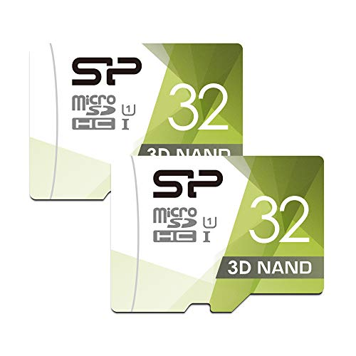 Silicon Power 32GB Dual Pack High Speed MicroSD Card with Adapter (2 Pack)