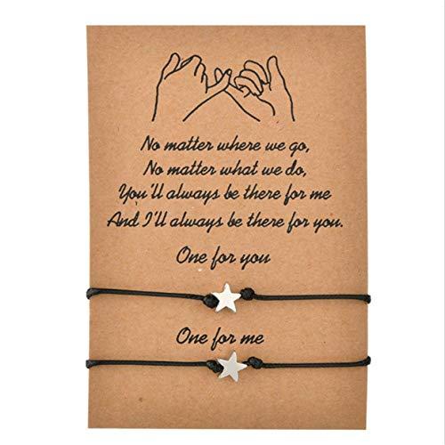 EJY 2 pcs Pinky Promise Bracelets,Handmade Cord Relationship Bracelets Friendship Couple Distance Matching Bracelet Gift for Best Friend Teen Girl