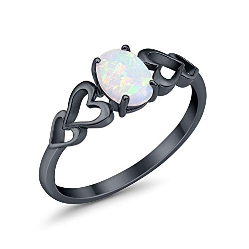 Solitaire Promise Ring Oval Lab White Opal Heart Accent Black Tone 925 Sterling Silver, Size - 6