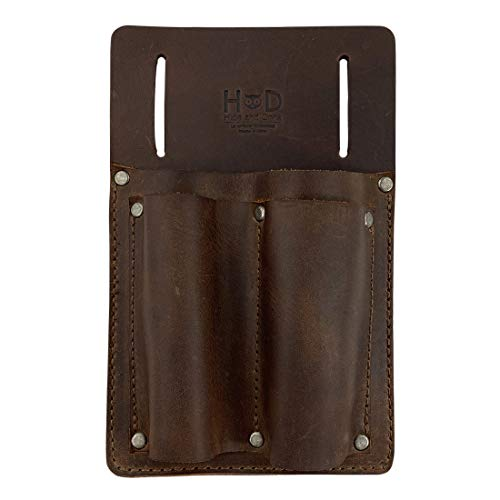 Hide & Drink, Screwdriver Holster Handmade from Full Grain Leather - Durable Carrier, Tool Holder, Accessory for Tools with Easy Belt Attachment - Great for Small Tools, Pliers, Hammer - Bourbon Brown
