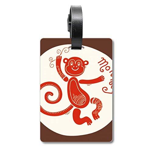 Etiqueta de identificación para Maleta con diseño del año del Mono, Color Rojo