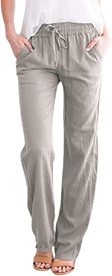utcoco Women's Casual Straight Fit Elastic Waisted Drawsting Cotton Linen Pants Loose Trousers with Pockets