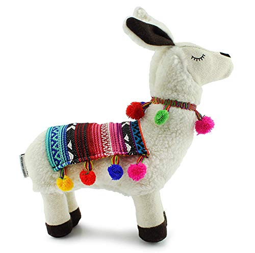Decorae Plush Llama with Blanket and Pom-Poms, Stuffed Llama Shaped Decorative Pillow
