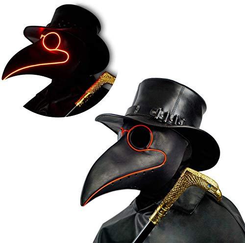 CreepyParty LED Máscara Doctor Peste Pájaro de Nariz Larga Máscaras de Accesorios de Disfraces de Halloween Steampunk Iluminar Negro