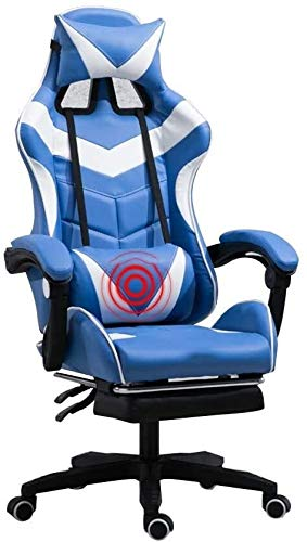 Armchairs GSN Swivel chair Task Chair, Ergonomics Lift Seat with footrest High Back Gaming Chair Multifunction with Headrest and Lumbar Support for Video Game Chair Swivel Chair (Size : Blue White)