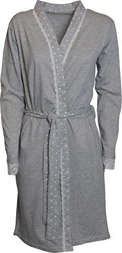 KISENE' Kiwear damesbadjas van puur katoen met zakken en riem geborduurd