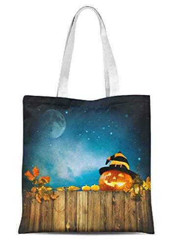 Halloween-Leinen-Tragetasche, für Frauen, Kerze, beleuchtet, Halloween, mehrere Taschen, Fitnessstudio, Ausflüge, Kinder