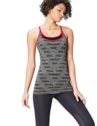 Activewear Top Deportivo con Sujetador Incorporado Mujer , Gris (Black/grey Marl), 40 (Talla del fabricante: Medium)