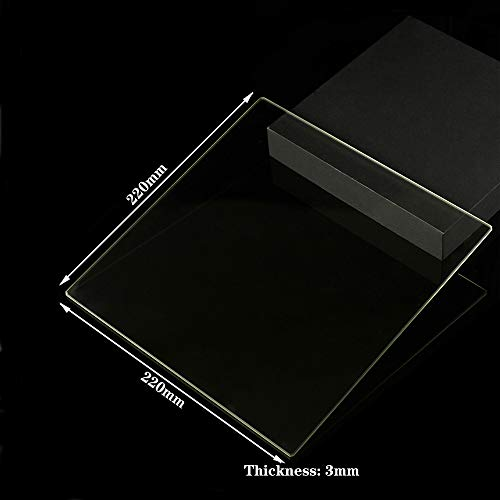 220mm x 220mm x 3mm Borosilicate Glass Build Plate For 3D Printers, Perfectly Flat Glass With Polished Edges