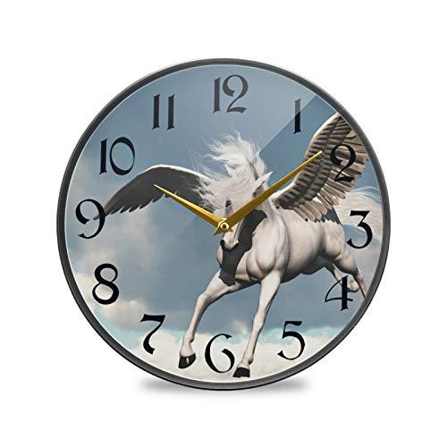 ART VVIES Reloj de Pared Redondo de 9.5 Pulgadas Sin tictac Silencioso Funciona con Pilas Oficina Cocina Dormitorio Decoraciones para el hogar-Criatura Antigua fábula Mito Caballo Blanco