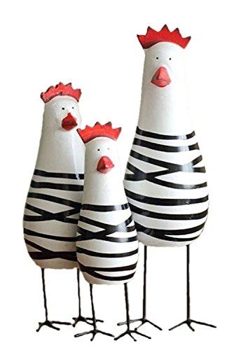 SYNC 北欧雑貨 動物インテリア おしゃれ かわいいニワトリ木製オブジェ ハンドメイド 鶏 大中小 3個セット