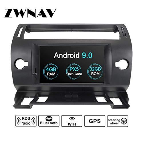 ZWNAV Andriod 9.0 Estéreo para automóvil Navegación por GPS para Citroen C4 C-Quatre C-Triumph 2004-2012 Soporte para Europa 49 CD de mapeo de país DVD Dab + WiFi Pantalla táctil de 7'