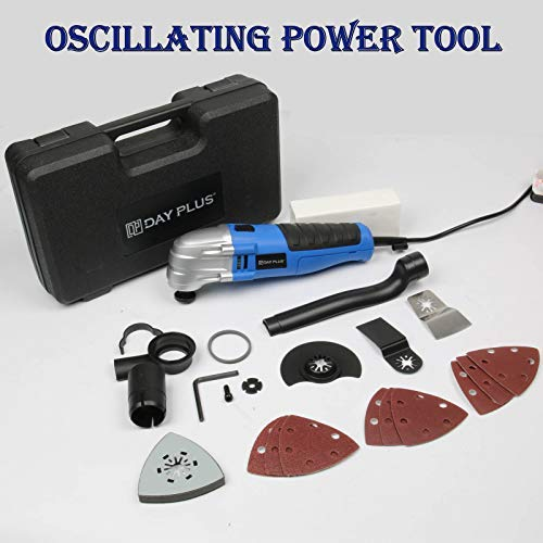 Lowest Price! Oscillating Tool 1.5A 180W Oscillating Multi Tool 21000RPM with 3x Saw Blades 9Pcs San...