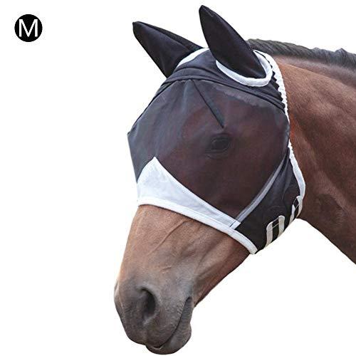 Seasons Shop Vliegenmasker voor paarden, ademend, comfortabel, met anti-muggen, geluidsarm, gemakkelijk te dragen, M, zwart.