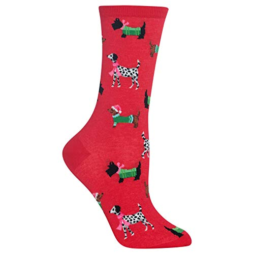 Hot Sox Women's Holiday Fun Novelty Crew Socks, Christmas Dogs (Red), Shoe Size: 4-10