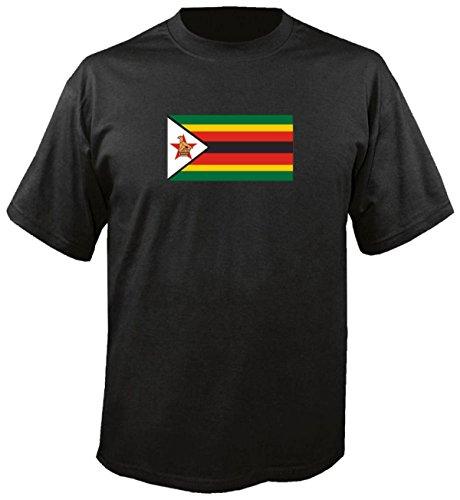T-Shirt für Fußball LS202 Ländershirt M Mehrfarbig Zimbabwe - Simbabwe Fahne/Flagge - Fanshirt - Fasching - Geschenk - Fasching - Sportshirt schwarz