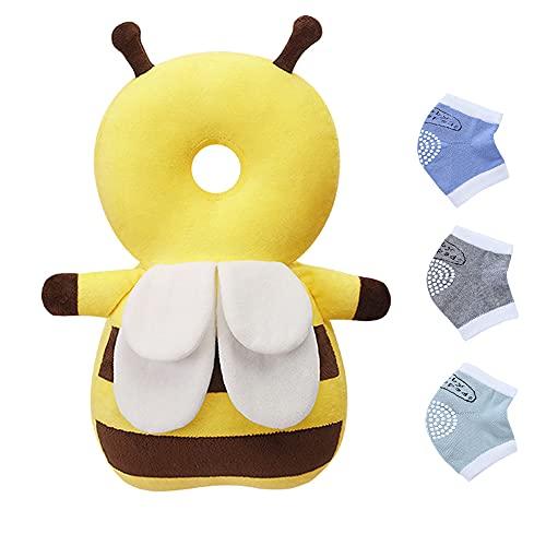 Protezione per la testa del bambino, 3 pezzi ginocchiere per strisciare, cuscino di sicurezza regolabile, protezione per la schiena del bambino per camminare e strisciare