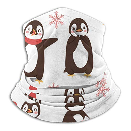 Leuke penguins met cartoon fleece nek warme trapping sun-proof nek gaiter tube soft elastisch balaclava half masker unisex windproof skinek gaiter cover voor winter skiing rond.