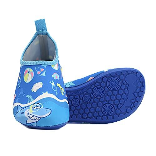 QAOSHOP Kids Girls Boys Water Shoes, Quick Dry Anti Slip Children Barefoot Aqua Socks for Beach Swimming,Blue,XL