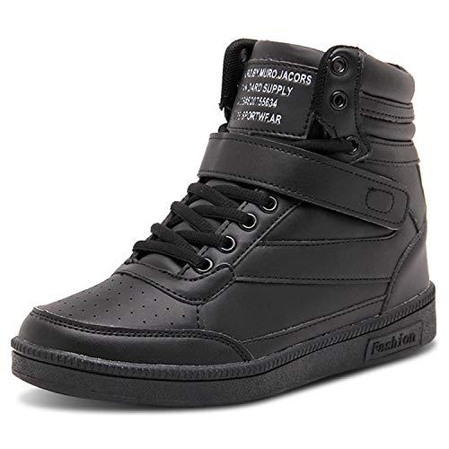 Barerun Women's Walking Shoes High-Heeled Sneakers Lace-Up High-Top Walking Shoes Black 7.5 M US Women