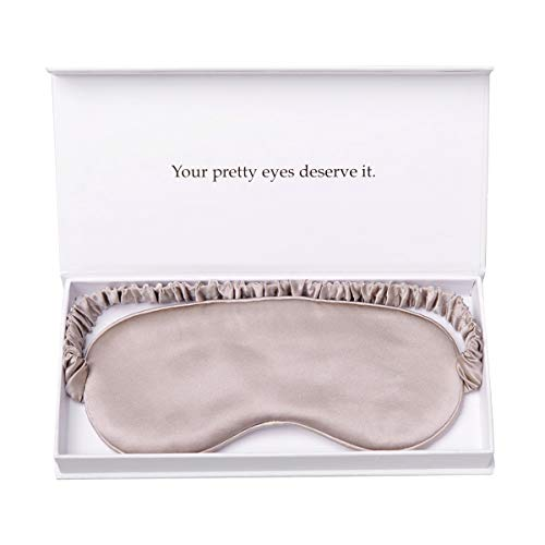 YANSER Luxury Silk Sleep Mask 100% Mulberry Silk Eye Mask/Anti-Aging/Skin Care/Multi Colors/Ultra Soft, Light & Comfy/Travel Bag/Gift Package/Blindfold/Caramel