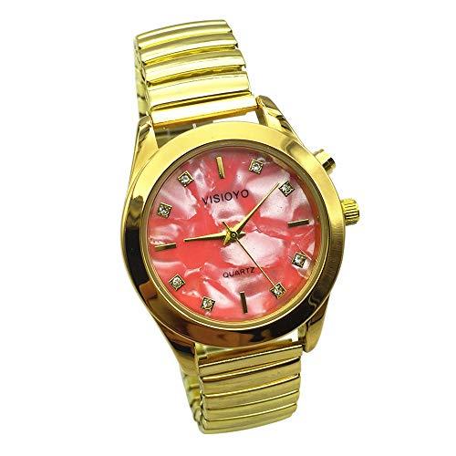Reloj parlante analógico con alarma, anuncio de hora y fecha en francés, para ciegos y personas con discapacidad visual, color dorado, pulsera extensible TAG-1307F