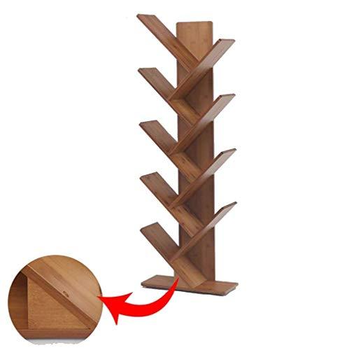 AGWa Bücherregal Bücherregal Bambus-Baum Lagerregal Stand Organizer für Wohnzimmer, 4 Größen,5 Stufen