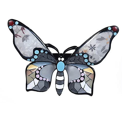 Broche de mariposa a la moda para mujeres, niñas, vestido, abrigo, Pin, encanto, esmalte azul, aleación, broches de insectos de metal para niños-Bo2112Blgr