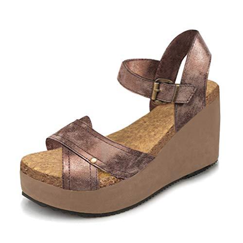 Minetom Sandalias Mujer Verano Plataforma Romanas Sandals Peep Toe Casual Gladiador Tacón De Cuña Planas Hebilla Zapatos Retro PU
