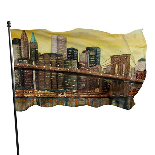 YUYUTE Party/Garten/Park/Themen flaggen New York Cityscape Brooklyn Bridge Home Garden Flag for Outdoor House Porch Welcome Holiday Decoration, Fit Chritmas/Birthday/Happy New, 3x5ft