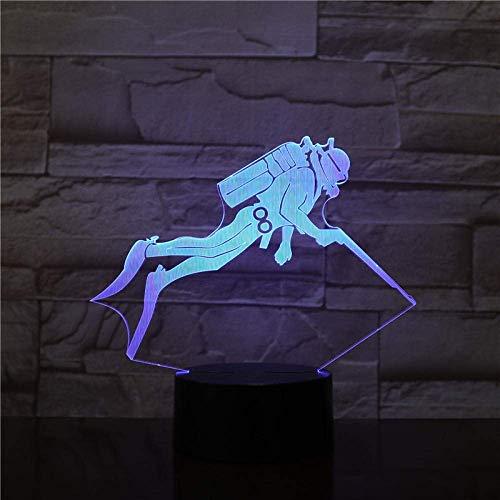 Lampe Der Illusion 3D Sichtbarmachung 7 Bunte Steigungs-Tauchen-Sport-Form Führte Nachtlicht-Baby-Befestigung Für Kind-Note Usbara-Tabelle