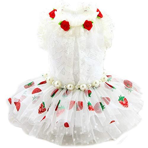 MMAWN Ropa de Verano para Chihuahua, Vestido de Encaje Rosa púrpura, Falda para Perros, Vestidos de Princesa, Vestido de Novia para Perros pequeños (Size : X-Large)