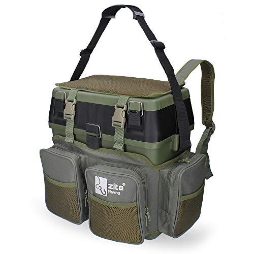 Zite Fishing Multi Angel-Koffer-Rucksack & Sitz-Kiepe in 1 - Inklusive 4 Tackle-Boxen für Angelzubehör im Deckel