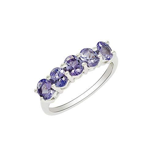 Shine Jewel Anillo apilable de plata esterlina 925 de gema brillante de tanzanita para mujer J 1/2 Oval tanzanita Blanco