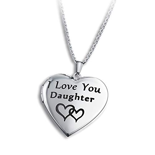 PHOCKSIN Love Heart Locket Necklace for Pictures Photo Lockets Engraved I Love You Daughter Gifts Jewellery