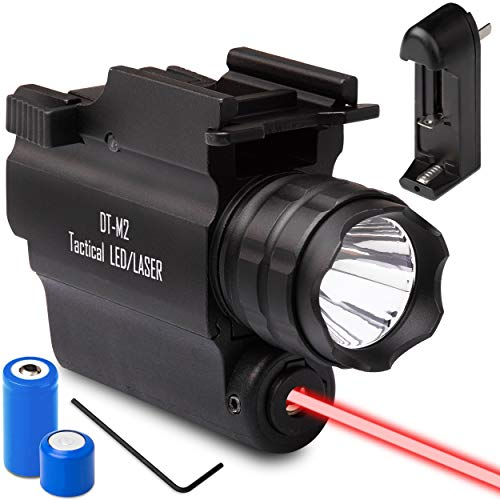 DefendTek DT-M2 Rechargeable Rail Mounted Red Laser Sight Combo Tactical LED Rail Mount Gun Flashlight with Quick Release 5mW 650nm Laser