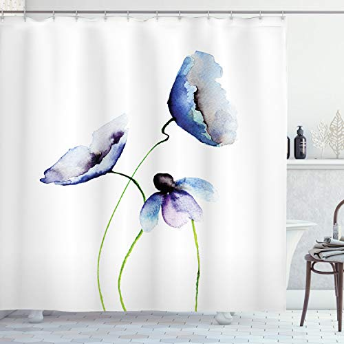 """Ambesonne Watercolor Flower Shower Curtain, Abstract Poppies Blossoms Simple Composition Picture, Cloth Fabric Bathroom Decor Set with Hooks, 70"""" Long, Blue Green"""