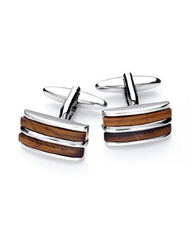Vincenzo Boretti Herren Manschettenknöpfe rechteckig Silber-braun Tiegerauge Box Etui edel elegant zum Hemd für Business Hochzeit