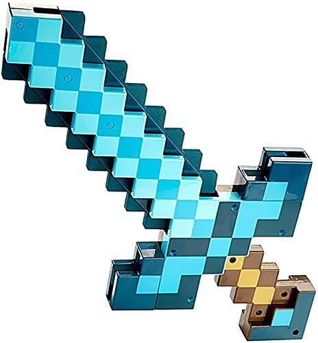 Lxixd Pixel Diamantschwert Spitzhacke Set für Minecraft, Spielzeug 2-in-1 Verwandlungs Sword Spitzhacke, Kunststoff Schwert Spitzhacke Teleskopschwert für Kinder (Blau)