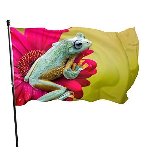 N/A Bandera de la Guardia Americana Bandera de bienvenida Banderas de bienvenida Verde Naranja Rana Resistente a la decoloración Uso interior Patio Patio Decoración de Aniversario 3 x 5 pies