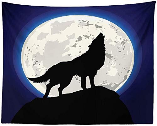 Tapiz de lobo Aullando silueta frente a la luna llena Criatura nocturna Escena de animales espeluznantes Tela Colgante de pared Decoraci¨n para dormitorio Sala de estar Dormitorio Gris carb¨n Marfil