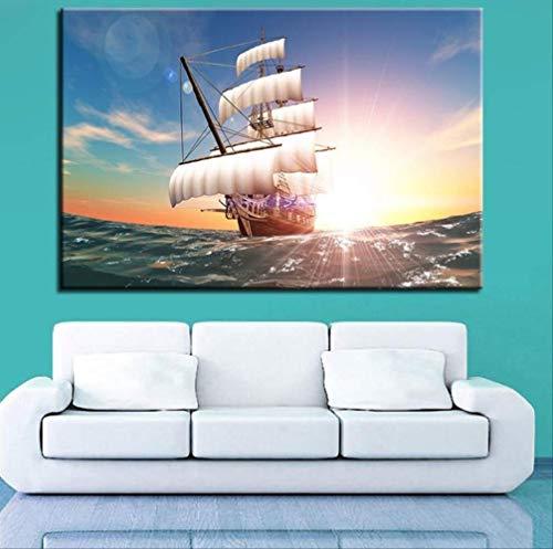 YGKDM Opere d'Arte wandafbeelding, HD-poster, 1 stuks, Boot in Vela Wall Art Mare modulair beeld restaurant canvas 40 x 60 cm x 1 zonder lijst
