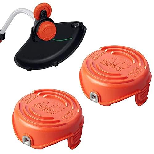 2pcs Trimmer Spools Tap Cubiertas Compatible con Black Decker Cortacésped Reemplazo de reemplazo Buena estabilidad Impacto Frío y Resistencia al óleo