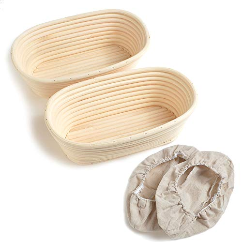 2pcs 10/25cm Oval Banneton Brotform Bake Bread Dough Rising Proofing Proving Rattan Basket With Linen Liner UK New by ifsecond