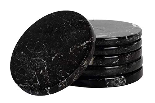Set di sottobicchieri 7,5 CM 6 tazze per tazza di caffè in marmo fatto a mano Set di sottobicchieri per ufficio Set-bicchieri caddy da cucina,cucchiai per stand per bevande coasters assorbenti(Black)