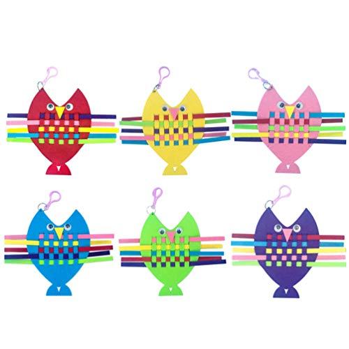 STOBOK 6 Pcs Enfants Sac Kit de Couture Bricolage Artisanat Dessin Animé Non Tissé Feutre Jouets pour Filles Enfant Tissage Couture Tricot Artisanat Bleu + Rouge + Violet + Vert + Jaune + Rose